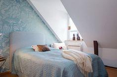 Bedroom Design, Solid Wood Bedroom Furniture Bedroom Blue Above Stairs: Solid Wood Bedroom Furniture Redesign in a Three Bedroom Loft in Sto. Loft Apartment Decorating, Attic Apartment, Attic Rooms, Apartment Interior Design, Urban Apartment, Attic Playroom, Attic Bathroom, Studio Apartment, Bedroom Loft
