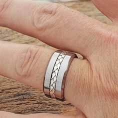 Mithras is a very intricate woven inlay ring that details a great hand crafted braided inlay. Custom order Mithras or order in stock 14 Karat gold or silver. Silver Wedding Bands, Unique Wedding Bands, Wedding Band Sets, Wedding Ideas, Silver Infinity Ring, Infinity Rings, Dream Engagement Rings, 14 Karat Gold, Metals