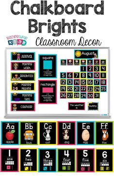 Update your classroom theme this year with this clean and classic look. Includes 13 separate class decor products in teal, lime, yellow and pink. Many of the items are editable to customize even more. Classroom Behavior, Classroom Posters, Classroom Themes, Whole Brain Teaching, Teaching The Alphabet, Christian Classroom, Book Bins, Calendar Activities, Chalkboard Decor