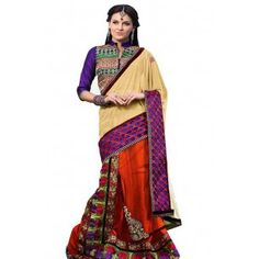 Shop Now - http://www.valehri.com/yellow-red-georgette-designer-partywear-saree-with-blouse-598