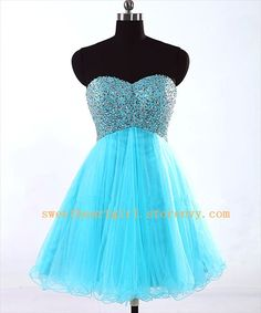 A-line Blue Sweetheart Short Prom Dress/Homecoming Dresses from Picsity.com