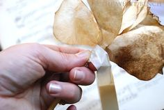 The White Bench: Tutorial: Coffee Filter Roses. Bbq Sticks, Skewer Sticks, Coffee Filter Roses, Spice Tins, Magic Recipe, Paper Flower Tutorial, Paper Tape, White Bench, Craft Tutorials