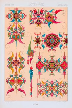 Moyen âge : XIVe siècle : enluminures de manuscrits. Creator: Painlevé, b. 1860 -- Lithographer Additional Name(s): Firmin-Didot (Firm) -- Publisher  Racinet, A. (Auguste), 1825-1893 -- Author