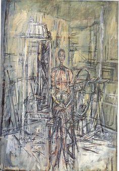alberto giacometti - oil on canvas laid down on masonite.