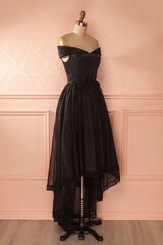 Janae Sombre - Black organza high-low gown Robe Classe, Robes De Soiree, e9737c9951ff