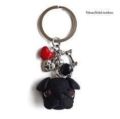 Black pug dog keychains polymer clay