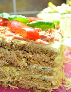 Voileipäkakku – syntisenhyvaa Sandwich Cake, Sandwiches, Finnish Recipes, Savory Snacks, High Tea, Cheesecakes, Meatloaf, Food And Drink, Baking