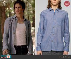 Damon's blue button down shirt on The Vampire Diaries.  Outfit Details: http://wornontv.net/39486/ #TheVampireDiaries