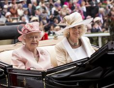 ASCOT, ENGLAND - JUNE 18:  Camilla, Duchess of Cornwall and Queen Elizabeth II attend Day 1 of Royal Ascot at Ascot Racecourse on June 18, 2013 in Ascot, England.  (Photo by Mark Cuthbert/UK Press via Getty Images)