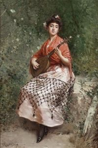 The Beautiful Bandurria Player - Raimundo de Madrazo y Garreta - The Athenaeum