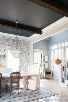 painted ceiling and white trim