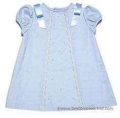 Luli & Me Baby / Toddler Girls Blue Dress with Satin Ribbons on Shoulders
