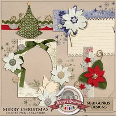 Merry Christmas Clusters by Mad Genius Designs - Scrap in a flash with these pre-designed clusters. Add your papers, a photo, and you are finished!