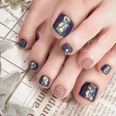 Gel Toe Nails, Gel Toes, Feet Nails, Toe Nail Art, Mani Pedi, Manicure And Pedicure, Navy Nails, Japanese Nail Art, Gel Designs