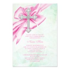 pink and green communion invitations | Pretty Pink and Green First Communion Invitation
