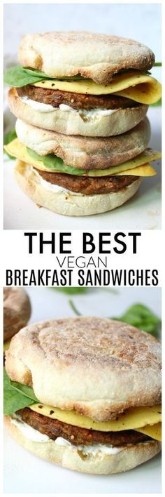 A simple and delicious take on a classic breakfast takeout meal - these really are The Best Vegan Breakfast Sandwiches around! | ThisSavoryVegan.com #veganDishes