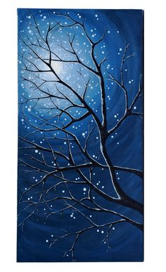 Original Modern Landscape Painting of Moonlit Branches- Gallery Canvas by Little Sparrow Gallery Easy Paintings, Landscape Paintings, Winter Art, Winter Painting, Winter Night, Pictures To Paint, Acrylic Art, Tree Art, Painting Techniques