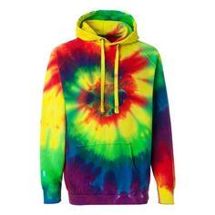 Men's Rainbow Tie-Dye Hoodie (Rainbow) (Multi)
