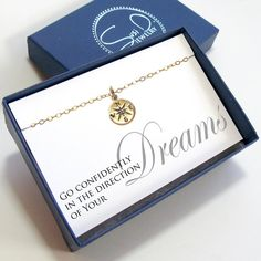 Compass Graduation Necklace Sentiment Card with Gift Box Class of 2015 Silver or Gold