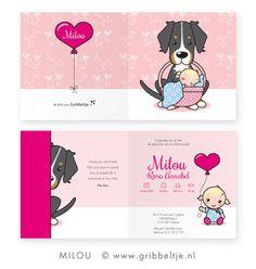 Geboortekaartje met hond (Berner Sennen) - Birth announcement with dog (Berner Sennen) * Made by Gribbeltje *