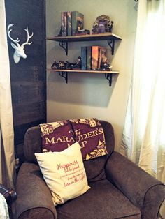 Harry Potter Nursery I am most looking forward to utilizing this space! This super comfy glider/recliner will get a lot of use, for feedings, snuggles and plenty of bedtime or any time reading!