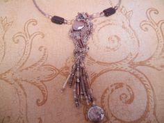 Mauve free form peyote stitch pendant necklace by PasticheStudio