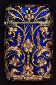 Delightful Tiffany gold & enamel match holder /vesta case
