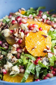 Winter Salad with Sage Vinaigrette: quick and easy yet healthy and flavorful recipe full of colorful winter fruit to brighten up the cold and dark days.