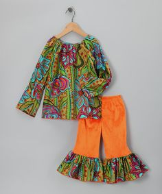 Take a look at this Green Modern Floral Top & Orange Ruffle Pants - Toddler & Girls by Cheeky Banana on #zulily today!