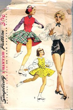 "Vintage 1952 Girl's Tap Dance Trunks, Blouse and Skating Outfit Sewing Pattern Size 10 Breast 28"" by Recycledelic1 on Etsy"