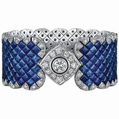 Bracelet from SignatureDeChanel FineJewelry collection in 18K white gold set with a 1 carat BrilliantCut - Diamond, 265 SquareCut - Sapphires (total weight 66 cts) and 221 brilliant cut Diamonds (total weight 7.7 cts) - January 2016.