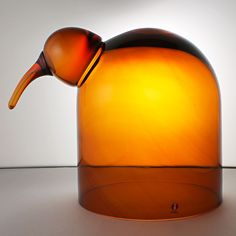 """Oiva Toikka's affectionate """"Anna"""" glass bird with dome-like form, cognac yellow color, and joyous expression. Mouth-blown and hand crafted glass art from Iittala in Finland. Mid-century Modern, Modern Design, Glass Art Design, Streamline Moderne, Glass Birds, Scandinavian, Anna, Art Deco, Table Lamp"""
