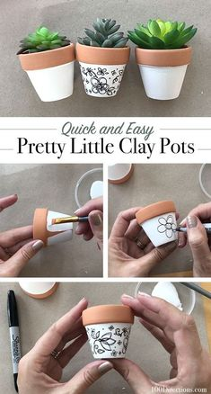 diy art Create your own pretty little hand-drawn art clay pot planter in under 15 minutes. All you need is a pen and a pot and you can make fun little mini art decor crafts. These cute mini pl Painted Plant Pots, Painted Flower Pots, Flower Pot Crafts, Clay Pot Crafts, Clay Pot Projects, Shell Crafts, Easy Diy Projects, Craft Projects, Quick Crafts