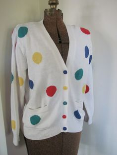 vintage polka dot rainbow primary color sweater cardigan white red green yellow blue rainbow LGBT s m. $28.00, via Etsy.