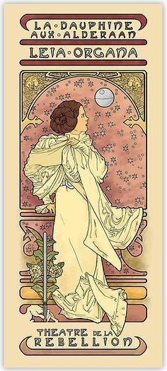 "A stunning Leia Organa in art nouveau style.""La Dauphine Aux Alderaan"" by illustrator Karen Hallion."