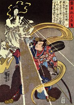 Utagawa Kuniyoshi (1797-1862) - Inari appears to a warrior. This portrayal of Inari shows the influence of Dakiniten concepts from Buddhism.   Inari Ōkami (稲荷大神?, also Oinari) is the Japanese kami of fertility, rice, agriculture, foxes, industry, and worldly success and one of the principal kami of Shinto. Represented as male, female, or androgynous, Inari is sometimes seen as a collective of three or five individual kami.