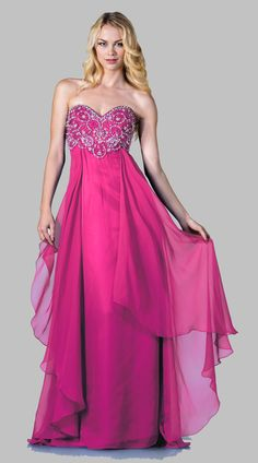 Strapless Sweetheart Neck Fuchsia Formal Ball Gown