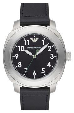 Men's Emporio Armani Round Leather Strap Watch