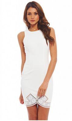 WOMEN'S CROCHET BOW HEM BODYCON CREAM DRESS<br/><div class='zoom-vendor-name'>By <a href=http://www.ustrendy.com/AXParisUSA>AX Paris USA</a></div>