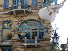 Art Nouveau Window and Boat Balcony, Antwerp, Belgium. I've walked past it some times and always thought it was so original! Belgium Europe, Antwerp Belgium, Art Nouveau, Key West Beaches, Art Deco Living Room, World Street, Mother Art, Unique Buildings, Architecture Details