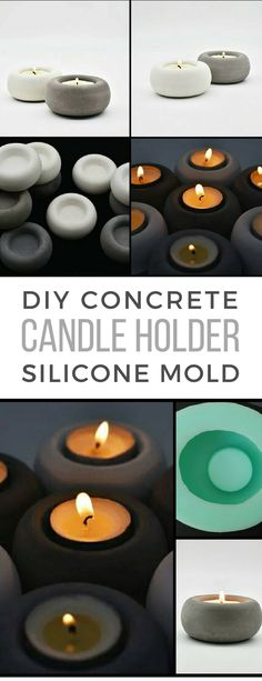 I love these small round concrete candle holders. With the silicone mold I would make a lot of them to fill my bathroom when I'm having a relax bath. #ad #concrete #candleholder #mold #siliconemold #tealightholder #homedecor #cement #diy #restaurant #weddingdecor