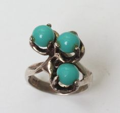 Modernist Simulated Turquoise Sterling Ring by PastSplendors #GotVintage #Vintage #Jewelry