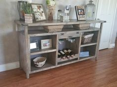 Custom sideboard complete with wine glass rack, wine holder, shelves and more. Custom, furniture, Hemet, small business, home decor, sideboard, buffet, table, dining room, living room, entry way