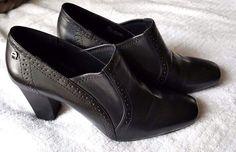 Oxford Heel Shoe Shootie Ankle Boot Etienne Aigner Womens Ridley Black Leather  #EtienneAigner #OxfordsShootieAnkleBoots