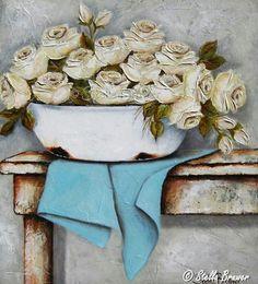 Stella Bruwer white enamel basin on aqua towel white roses white shabby chic table Stella Art, Wallpaper Nature Flowers, White Roses Wallpaper, Still Life Flowers, Acrylic Painting Lessons, Vintage Flowers, Love Art, Oeuvre D'art, Painting Inspiration
