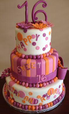 Sweet 16 Cake by Roscoe Bakery 40th Birthday Cakes, Sweet 16 Birthday, Purple Birthday, Birthday Ideas, Happy Birthday, Teen Cakes, Sweet 16 Cakes, Cupcake Cookies, Cupcakes