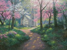 Artecy Cross Stitch. Spring Chapel Crossing Cross Stitch Pattern to print online.