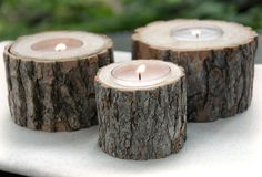 Rustic Tree Branch Candle Holder...not for dinner tables, but perhaps for gift or dessert tables.