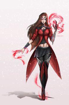 Artstation - scarlet witch redesign, devin yang a fun redesign for scarlet witch Marvel Avengers Comics, Avengers Poster, Marvel Art, Marvel Heroes, Ms Marvel, Captain Marvel, Captain America, Scarlet Witch Marvel, Marvel Girls