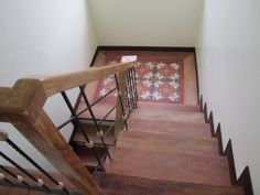stairs landing with machuca tiles Machuca Tiles, Tile Stairs, Stair Landing, Rustic Design, My House, Tile Floor, New Homes, Farmhouse, Design Inspiration